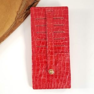 ABAS Leather Slim Credit Card File Wallet Red Croc